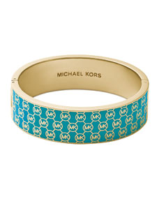 Monogram hinge bangle, turquoise/golden