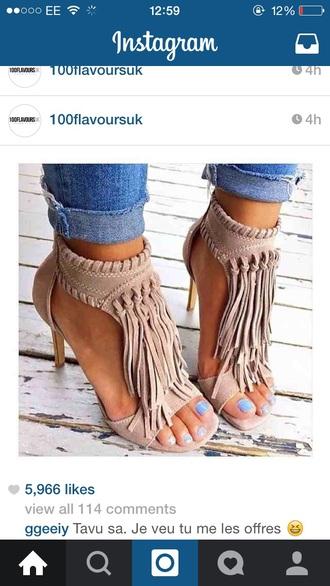 shoes camel sandals fringe nude festival heels