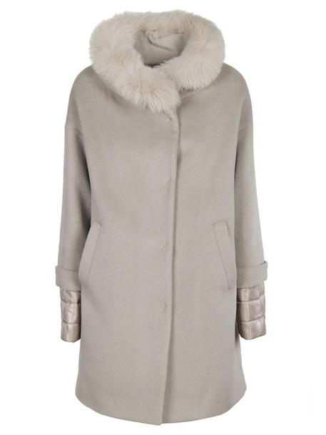 Herno coat fur collar coat fur beige