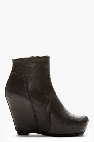 wedge women shoes leather boots black