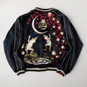 jacket,frogs,cherry blossom,flowers,floral,baseball jacket,bomber jacket,satin bomber,black bomber jacket,black,beige,red,embroidered,embroidered jacket,ripples,chinese,japanese,korean fashion,japan,japanese fashion,chinese writing,moon,asian,asian fashion,asian symbols,asian design,asian letters,asia,punk,hipster,grunge,aesthetic,aesthetic tumblr,aesthetic grunge,tumblr
