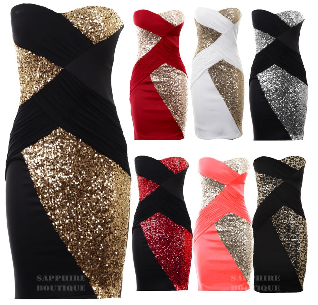 Women'S Sequin Cross Contrast Boobetube Plain Back Bodycon Ladies Party Dress | eBay