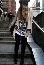 shirt,soft grunge,grunge,skull white t,pants,cardigan,winter sweater,hipster,indie,punk,blouse,skull,shoes,leggings,clothes,tumblr,beanie,t-shirt,boots,disco pants,bag,hair accessory,streetstyle,sweater,jeans,cheap monday,grunge t-shirt,back to school,coat