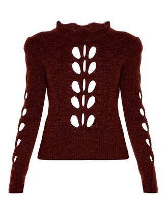 sweater knit open burgundy