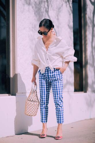 hallie daily blogger shirt pants bag jewels sunglasses white shirt spring outfits oversized shirt