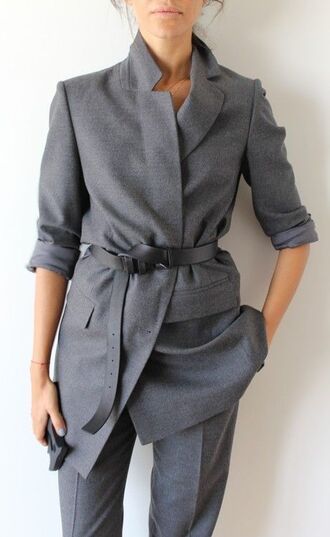 coat all grey outfit all grey everything blazer grey blazer long blazer belt pants grey pants jacket monochrome grey pant suit two-piece