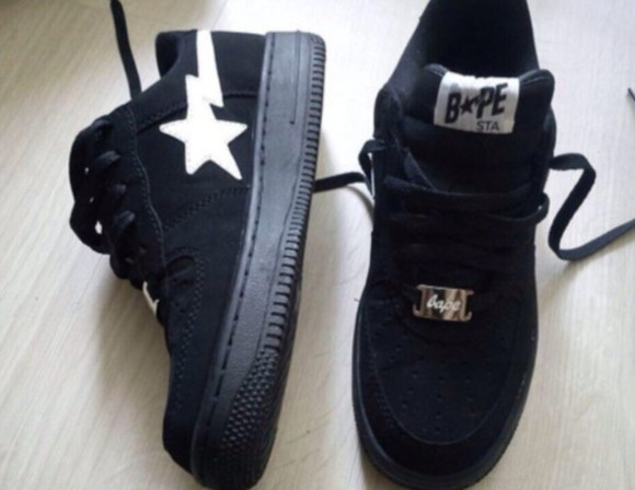 shoes white tumblr black vintage bape a bathing ape black and white cop trap style