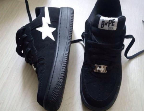 shoes bape a bathing ape tumblr vintage black white