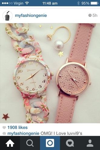 jewels watch geneva watch geneva pink watch watch with flowers floral watch swag watch
