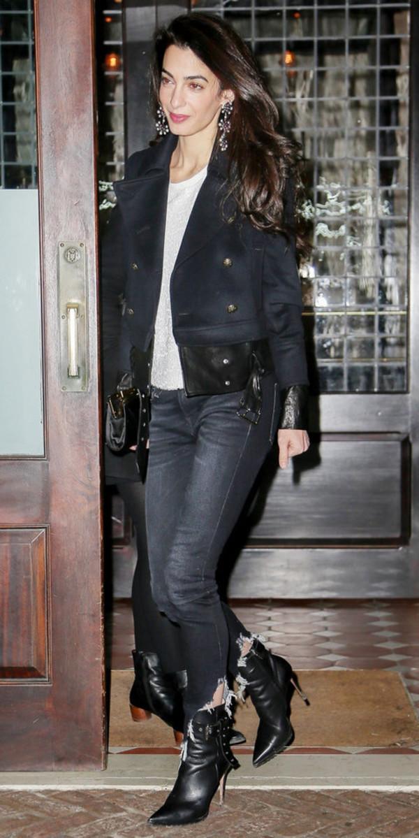 jeans jacket biker jacket ankle boots amal clooney top