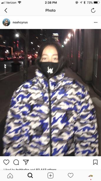coat noahcyrus camo jacket puffer jacket camoflauge clothes black and white blue