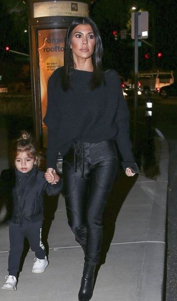pants sweater all black everything kourtney kardashian boots fall outfits kardashians black