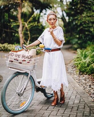 dress tumblr midi dress white dress short sleeve short sleeve dress sandals brown sandals belt bike spring outfits