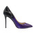 4 inch Heels - Ombre Purple/Black Transition Leather High Heels