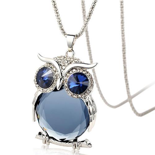 [grxjy5100342]fashion sparkly rhinestone owl pendant necklace