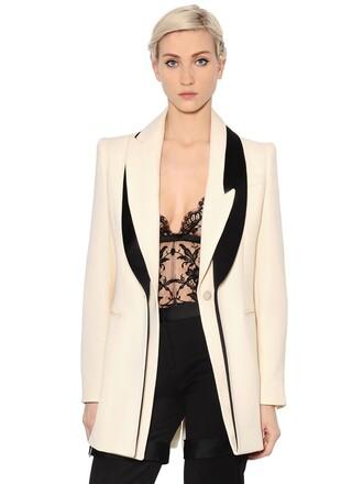 jacket long silk wool white black