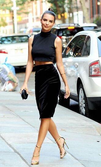 top crop tops skirt pencil skirt high waisted emily ratajkowski sandals