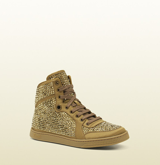 gold shoes diamond gucci sneakers