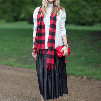 skirt red high heels streetstyle tartan scarf maxi skirt scarf red
