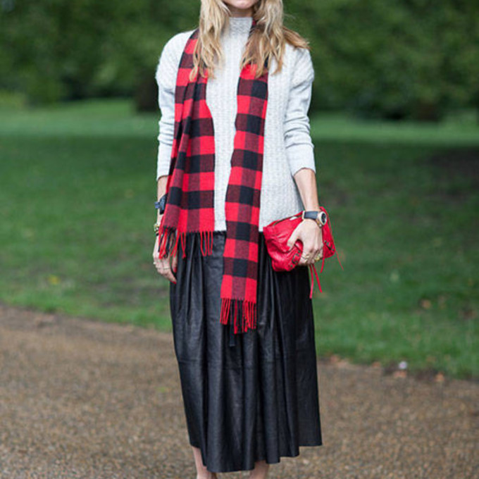 skirt red high heels streetstyle tartan scarf maxi skirt scarf red