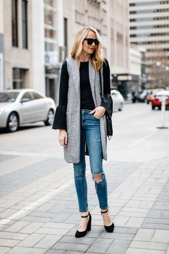 fashionjackson blogger top jacket jeans shoes sunglasses bag vest bell sleeves sleeveless coat pumps