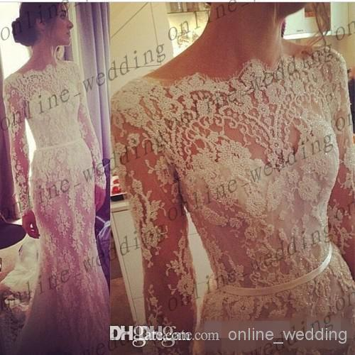Cheap Lace Bridesmaid Dresses - Discount 2014 Illusion Lace Steven Khalil Wedding Dresses V Online with $125.5/Piece | DHgate