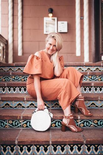 katwalksf blogger jumpsuit bag shoes round bag ankle boots orange jumpsuit