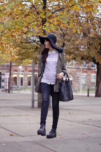 a dash of fash blogger jeans felt hat jumper quote on it parka bag khaki