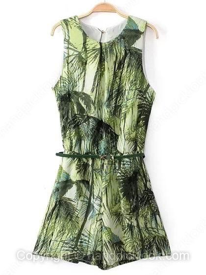 Green round neck sleeveless leaves print belt jumpsuit