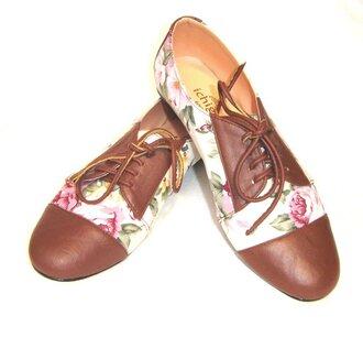 shoes floral brown oxfords floral oxfords