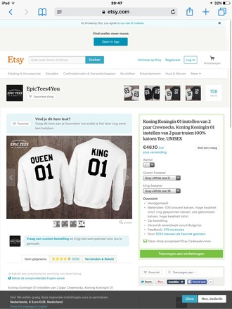 shirt queen king valentijnsdag trui boy sweater clothes girl