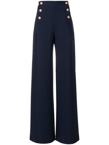 Alberta Ferretti high women spandex blue wool pants