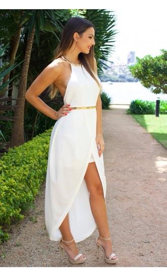 dress white dress prom dress gold sequins halter dress