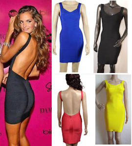 New Celebrity Backless Short Bandage Bodycon Evening Party Dress All Colours | eBay