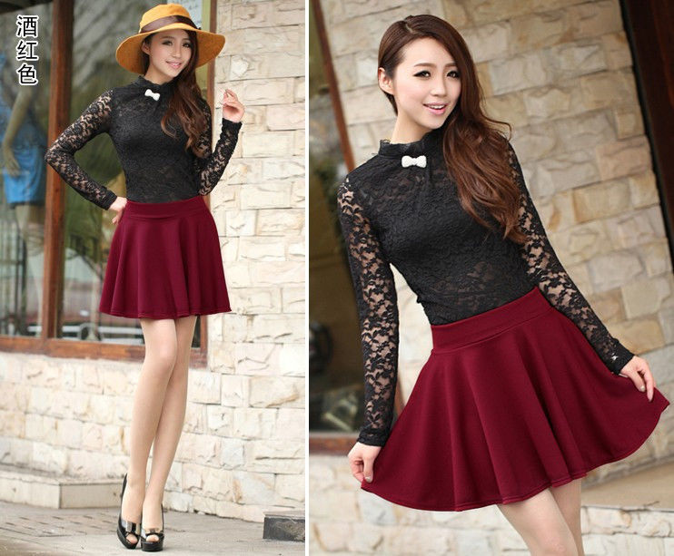 Women Candy Color Stretch Waist Plain Skater Flared Pleated Mini Skirt Dress | eBay
