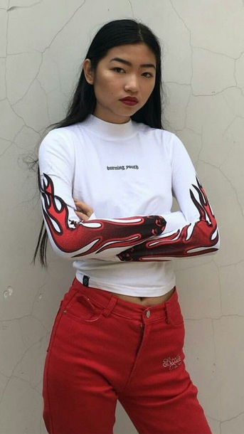 shirt white red long sleeves fire flame color