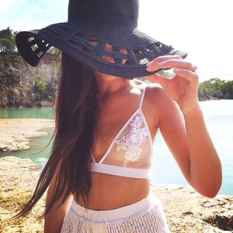 underwear lace lace bustier hat sabo skirt black summer white bralette straw hat shirt bra floral lace cami lace bralette blouse sheer flowy fedora transparent white bra black hat girly hair accessory black bikini swimwear mesh beach bikini tropical dress skirt pants cute