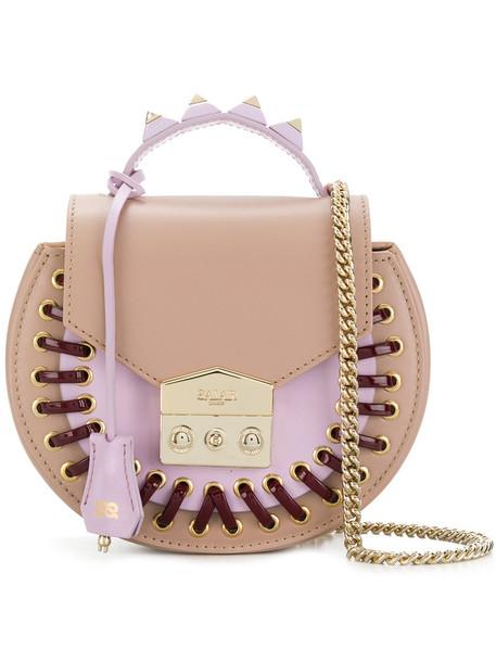 Salar women bag shoulder bag leather nude cotton suede