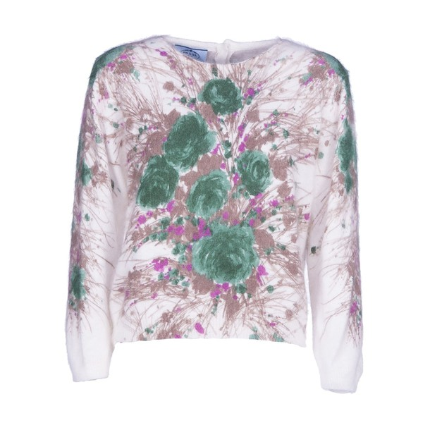 Prada sweater floral sweater floral white green