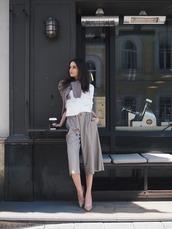 pants,tumblr,culottes,grey pants,cropped pants,shirt,white top,pumps,pointed toe pumps,high heel pumps