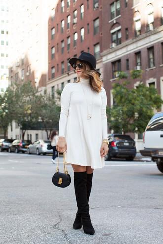 the corporate catwalk blogger turtleneck dress suede boots black boots