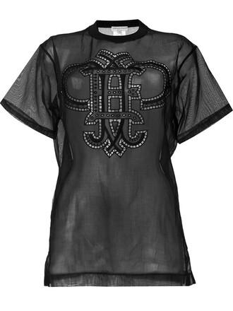 t-shirt shirt sheer black top