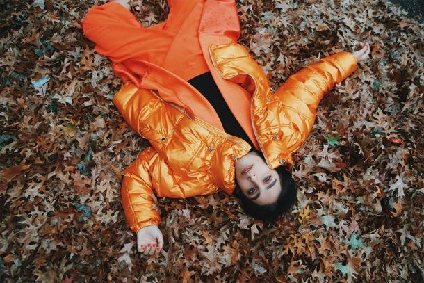 let's get flashy blogger coat jacket pants shoes sunglasses winter outfits orange jacket puffer jacket orange pants