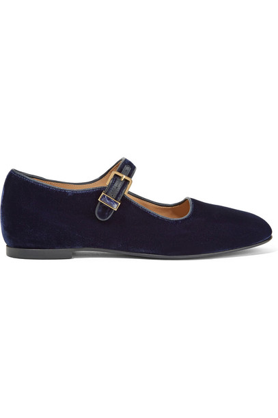 The Row Ava Velvet Mary Jane Flats in navy