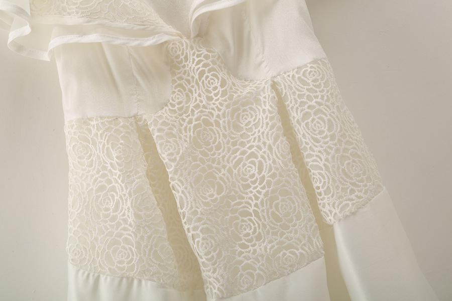 White Boat Neck Ruffle Flare Hollow Dress - Sheinside.com
