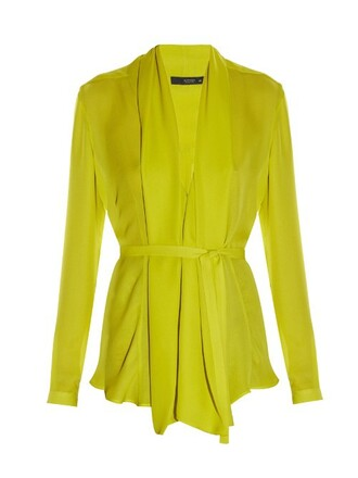 shirt silk yellow top