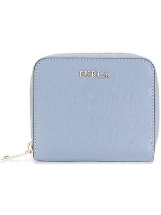 zip women purse leather blue bag
