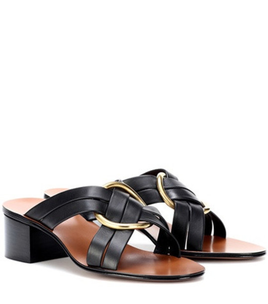 Chloé Buckle leather sandals in black