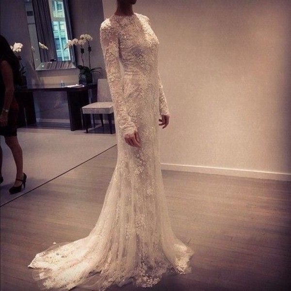 dress white lace wedding dress long sleeve dress gorgeous maxi dress modest dress beaded sparkle long dress