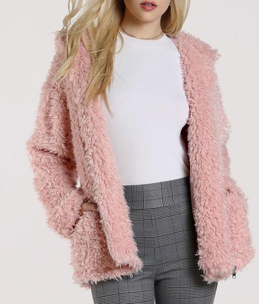 coat girly pink fur fur coat fur jacket